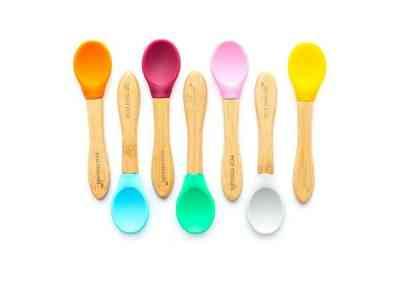 cucharas para bebes silicona y bambu