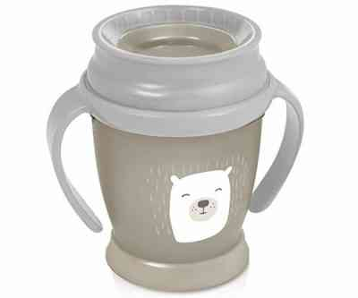 vaso antiderrames para bebes gris
