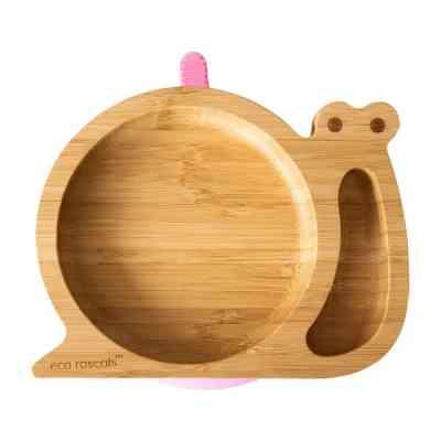 Plato blw de bambú con ventosa de caracol rosa