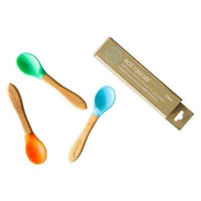 Pack de cucharas para bebés de bambú orgánico y silicona alimentaria azul verde naranja