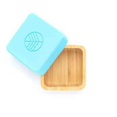 Caja para meriendas de bambú y tapa de silicona azul