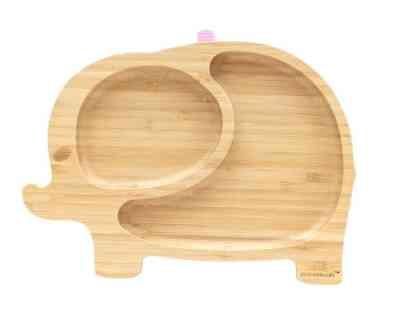 Bonito plato de bambu con ventosa para que no vuelque genial para bebés