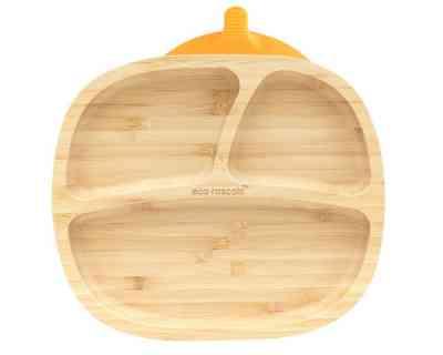 Plato con compartimentos para alimentación saludable naranja