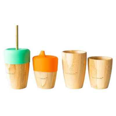Vasos con y sin tapa de bambú orgánico para pequeñas manitas
