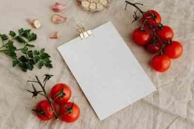 Hoja de menú en blanco para personalizar rodeada de tomates ajos y perejil