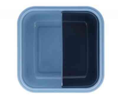 Caja con compartimentos azules de la fiambrera little monsters